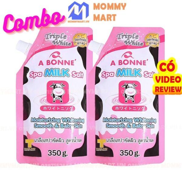 Combo 2 gói Muối Tắm Sữa Bò Tẩy Tế Bào Chết A Bonne Spa Milk Salt 350g Tẩy Sạch, Dưỡng Ẩm, Làm Trắng Da - ST29a Mommymart giá rẻ