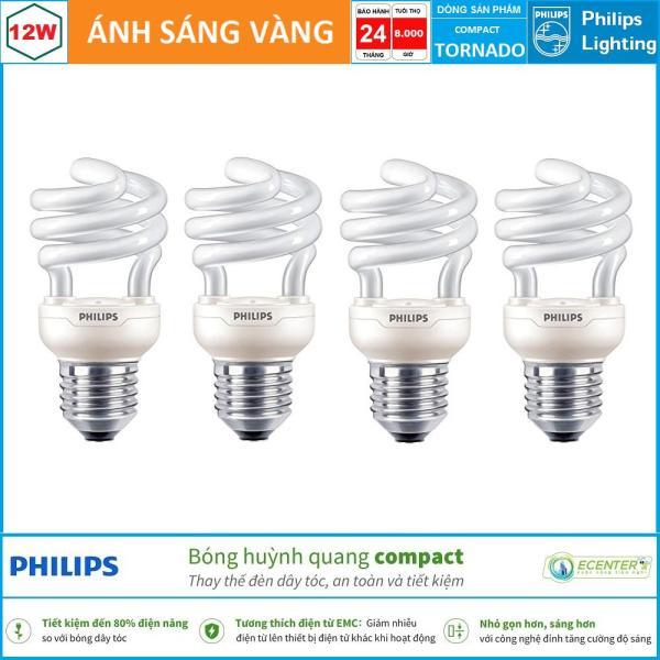 ( Bộ 4 ) Bóng đèn Compact Philips Tornado 12W CDL E27 ( Trắng + Vàng )