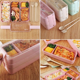 Hộp cơm lúa mạch Lunch Box 3 tầng hình chữ nhật 900ml tặng kèm dĩa, thìa cao cấp, hộp cơm văn phòng, hộp đựng cơm ăn trưa 3 tầng, nhiều màu, tuancua thumbnail