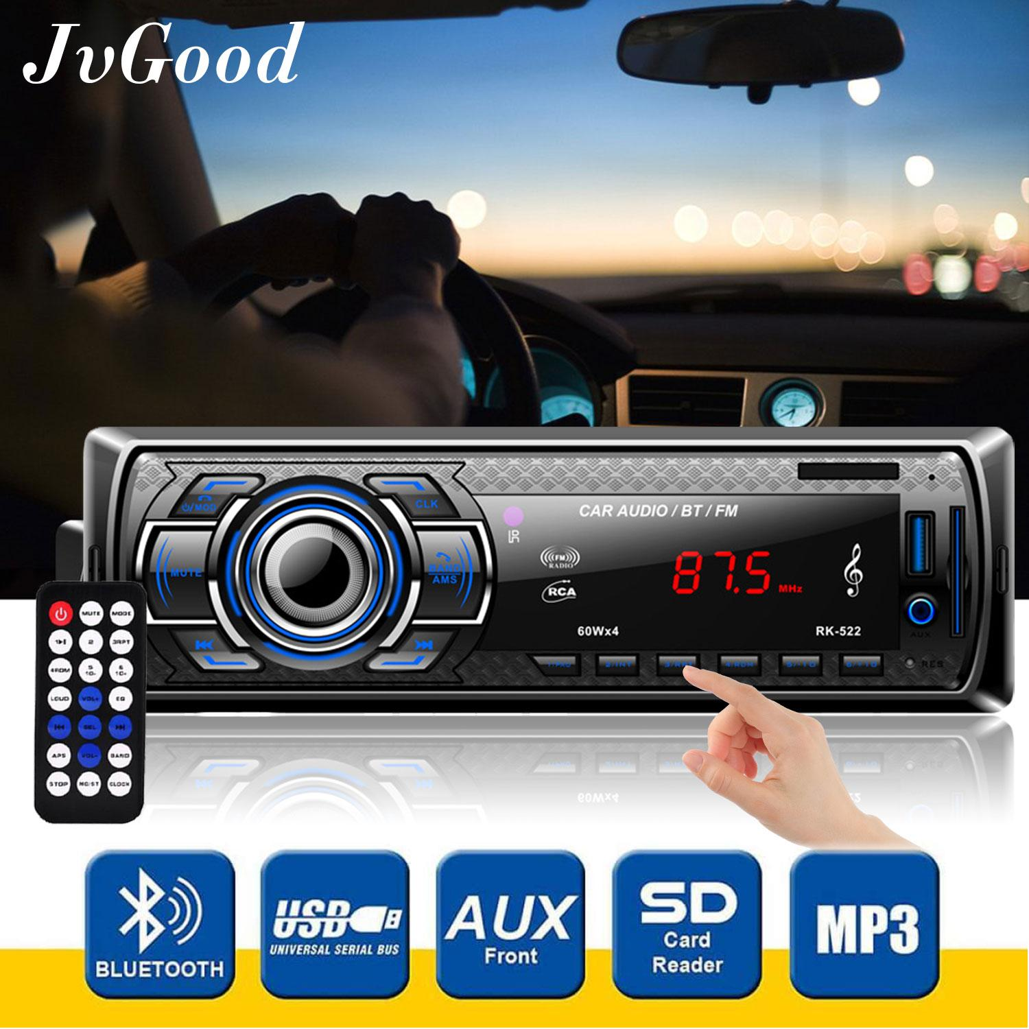 Jvgood เครื่องเล่นวิทยุติดรถยนต์ Car Stereo Receiver Car Audio Radio Player Bluetooth Stereo Car Mp3 Player Wireless Digital Media Single-Din In Dash Receivers With Sd/usb/aux-In/fm Radio Remote Control.