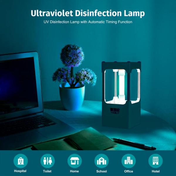 UV Light Sanitizer Portable UV Lamp Disinfection with Remote Control UV Germicidal Light Sterilizer with Timing Function for Car Living Room Bedroom Kitchen Hotel