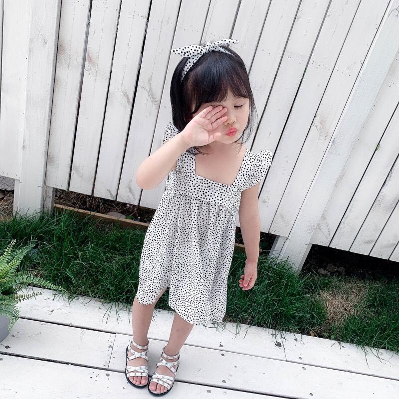 Váy xòe bé gái họa tiết chấm bi kèm tuban cực đáng yêu