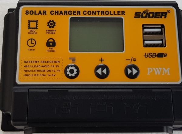 Điều khiển sạc năng lượng mặt trời PWM ST-S1220 Dành cho pin sắt pin lithium