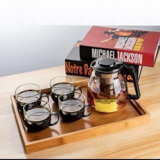 bộ bình lọc trà thủy tinh kèm 4 ly thumbnail