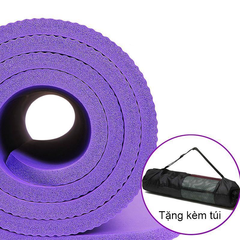 Thảm tập Yoga loại cao cấp siêu bền, dày 10mm TPE (Tặng kèm túi đựng và dây đeo thảm)