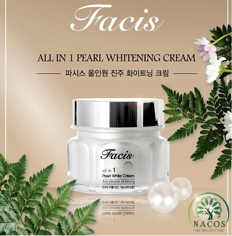 Kem dưỡng trắng da ngừa lão hóa ngọc trai Facis All in one Pearl Whitening Cream 50g