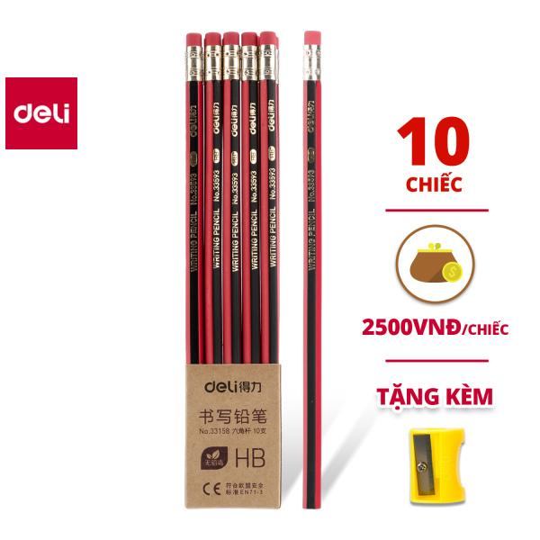 Mua Bút chì lục giác Deli - bút chì gỗ - loại 2B/HB - 10 chiếc/hộp - 33158 / 33159