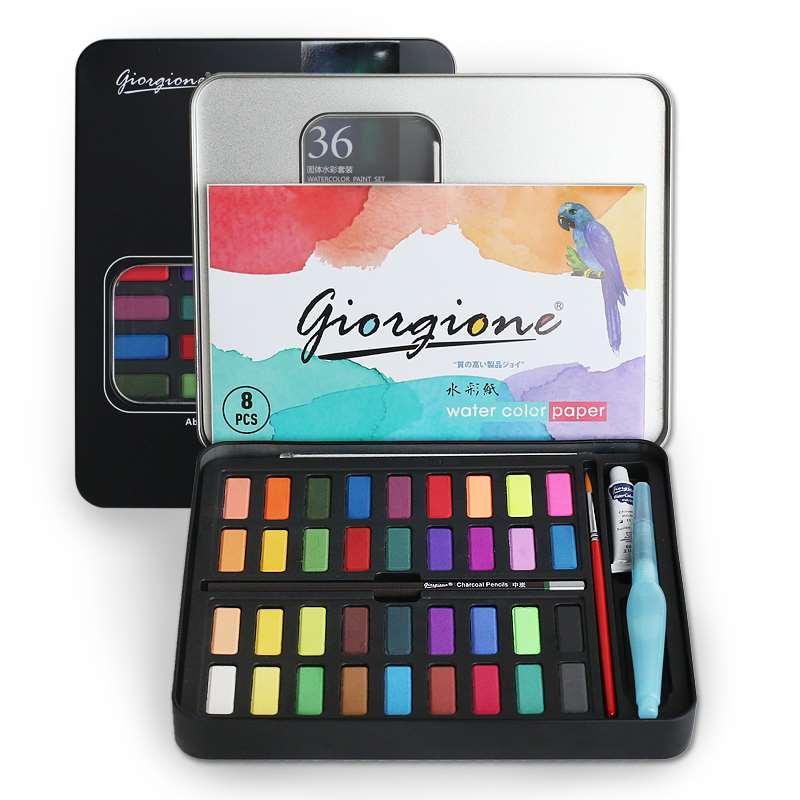 Bộ 36 Màu Nước Giorgione Cao Cấp Tặng Kèm Bút Nước, Bút Lông, Bút Chì ,Miếng Mút , Giấy Vẽ Nhật Bản