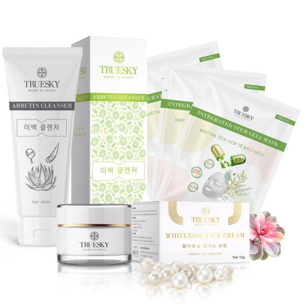 Bộ sản phẩm trắng da mặt Truesky P02 gồm 1 kem trắng da mặt 15g + 1 sữa rửa mặt nha đam 60ml + 3 miếng mặt nạ dưỡng da Truesky giá rẻ