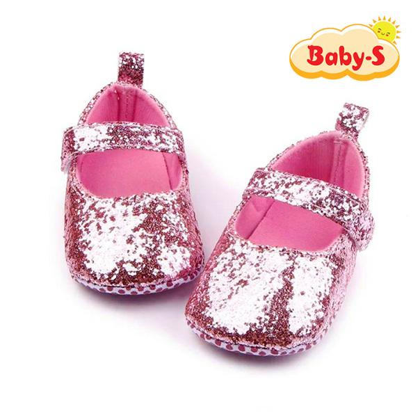 Giày tập đi cho bé gái từ 0 – 18 tháng tuổi quai dán tiện lợi cho bé thoải mái tập đi hoạ tiết kim tuyến màu trơn đơn giản xinh yêu Baby-S – STD13 giá rẻ