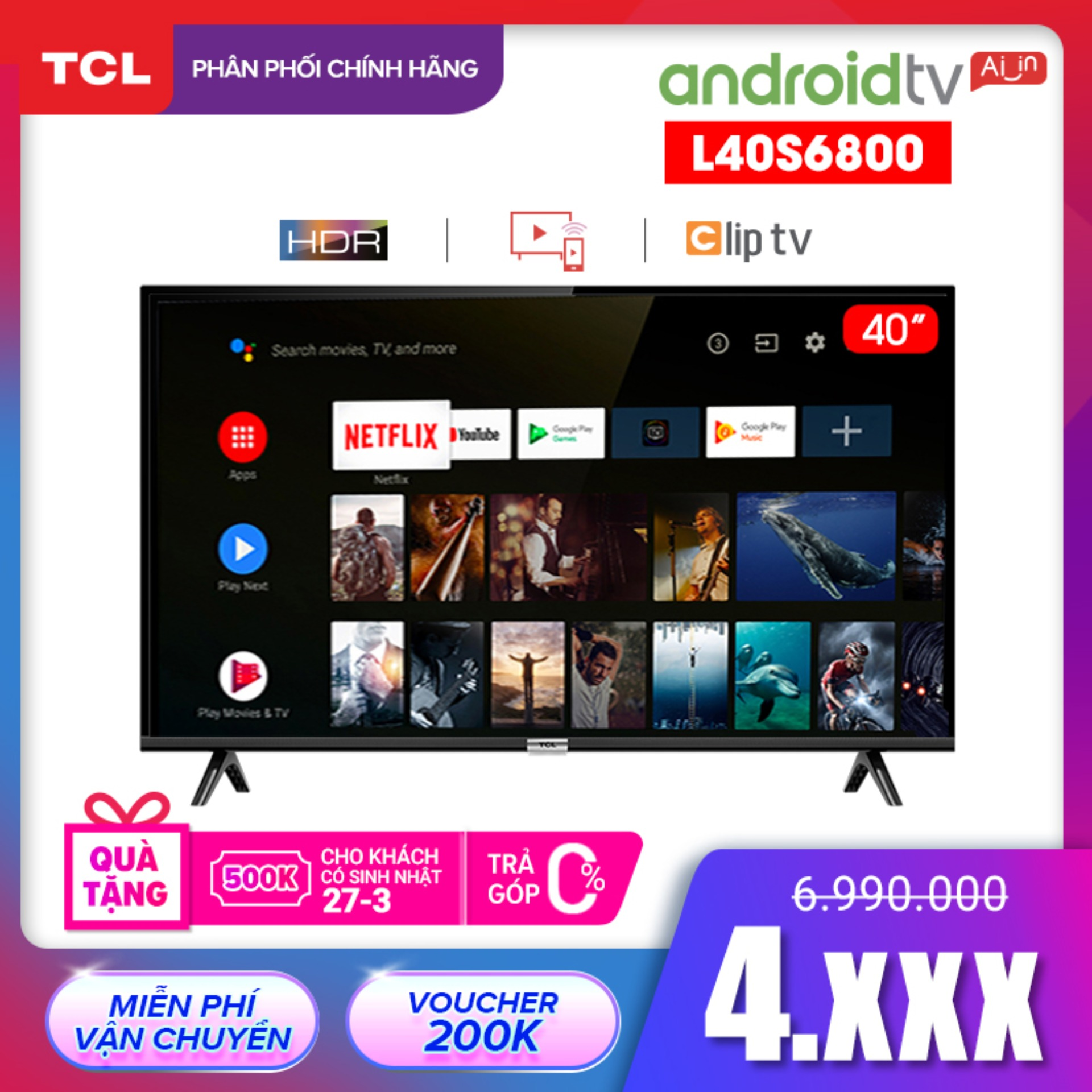 Smart TV TCL Android 8.0 40 inch Full HD wifi