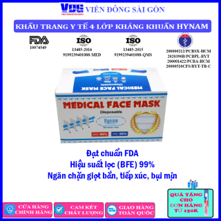 [SALE]]Khẩu trang y tế 4 lớp kháng khuẩn Hynam (50 cái hộp) - Đạt chuẩn FDA, Hiệu suất lọc (BFE) 99%, Ngăn chặn giọt bắn tiếp xúc, bụi mịn, tia UV - Màu trắng - Viễn Đông Sài Gòn thumbnail