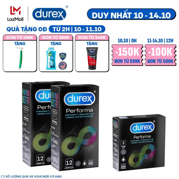 Combo 2 bao cao su Durex Performa 12 bao - 2 hộp 24 bao Tặng 1 hộp 3 bao nhập khẩu
