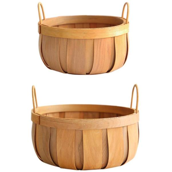Handmade Woven Baskets Natural Wood Vegetable Fruit Bread Egg Food Storage Camping Picnic Snacks Container Kitchen Storage Bag