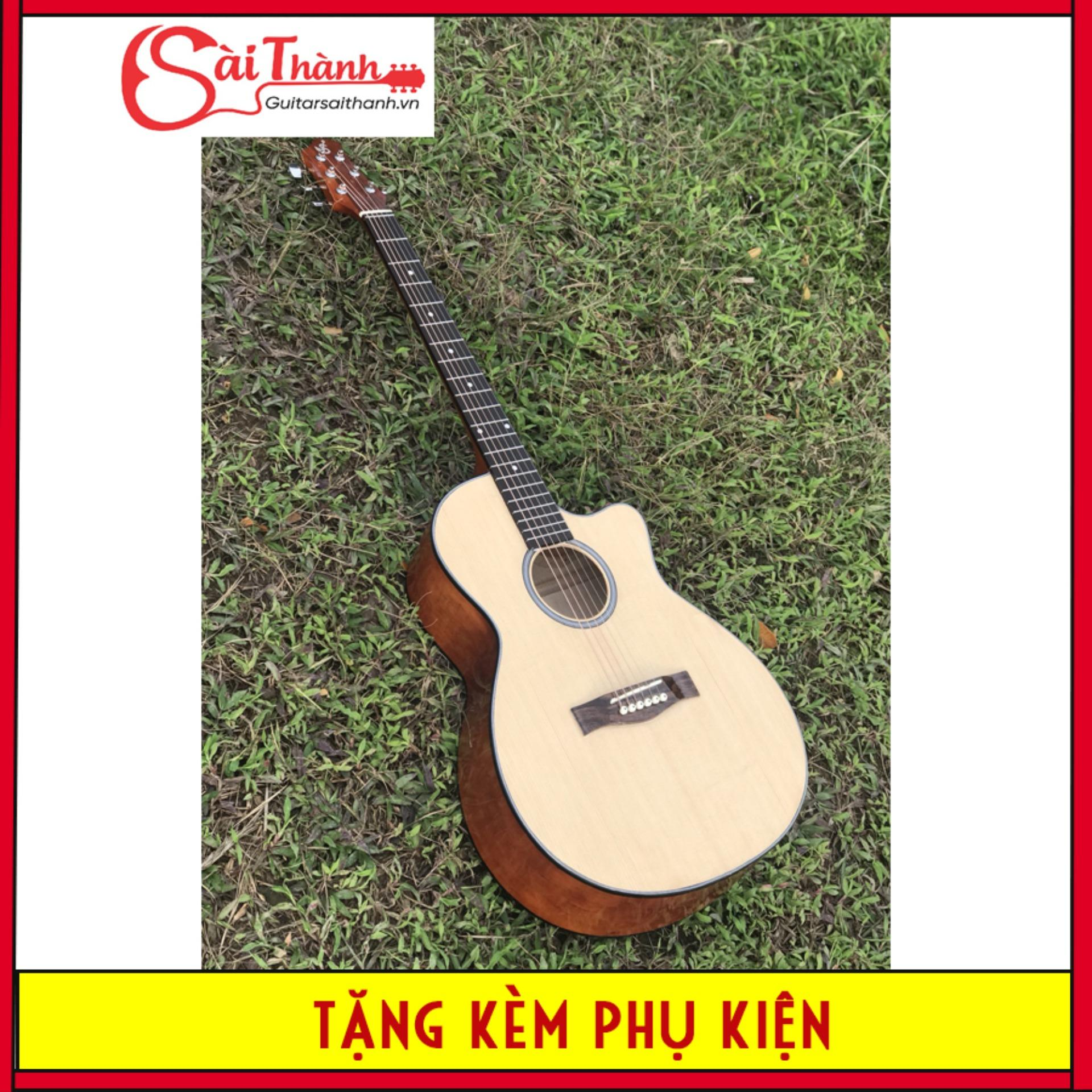 Đàn guitar acoustic dáng A full size lớn nhất tặng kèm phụ kiện