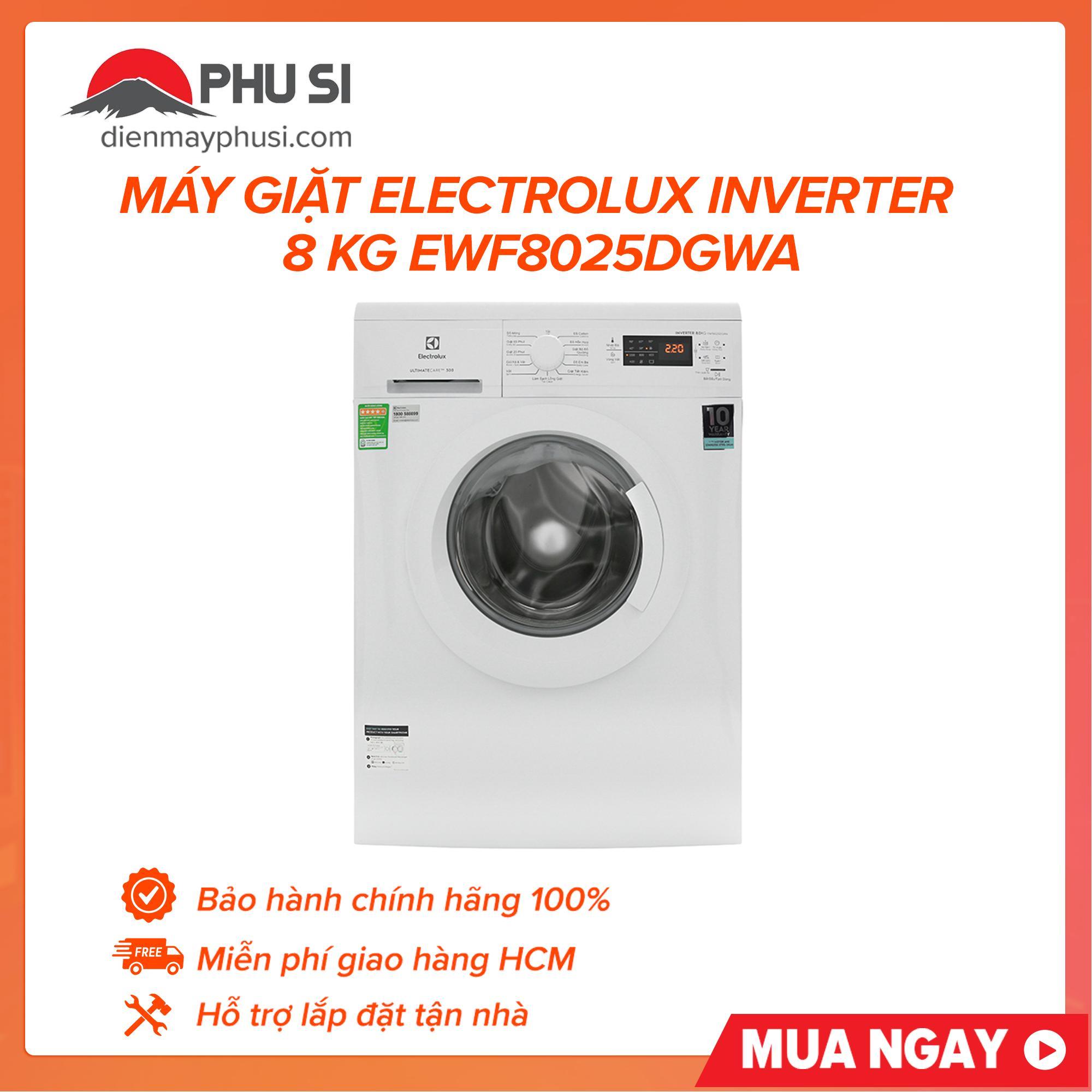{Sưu tập voucher 99k} Máy giặt Electrolux Inverter 8 Kg EWF8025DGWA , loại máy giặt cửa trước, lồng ngang với 10 chương trình hoạt động_Bảo hành 2 năm