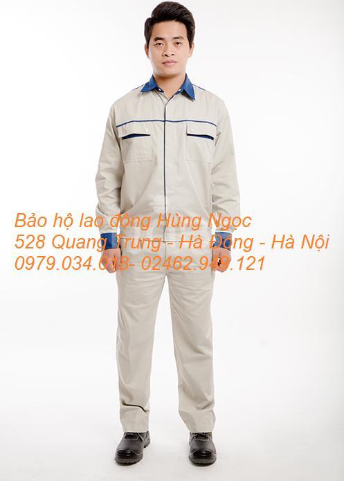 Bộ quần áo bảo hộ lao động Kaki Pangrim Hàn Quốc size L phối màu xanh ghi