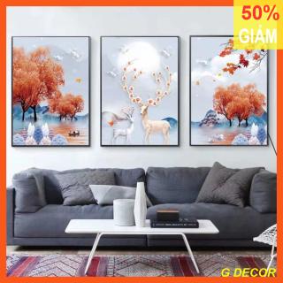 Tranh treo tường 3 bức phong cách Hiện đại - Bắc Âu G1, tranh trang trí phòng khách, phòng ngủ, phòng ăn, spa, trang trí nhà cửa, tranh decor, tranh con hươu thumbnail