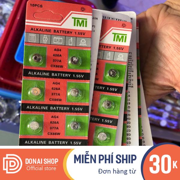 Vỉ pin đồng hồ 10 viên AG4 - 626 - 377A dùng cho đồng hồ chạy kim DONAI.PIN