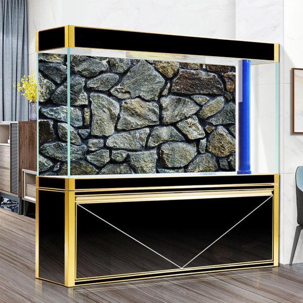 Bể thủy tinh nuôi cá với 1 mặt kính dán đá chất liệu PVC+Adhesive có nhiều kích cỡ - INTL