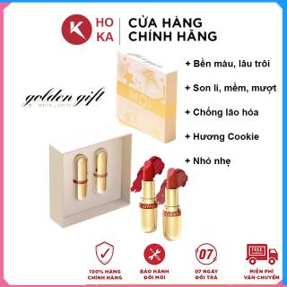 SET 2 Son Thỏi Vàng Mini Golden Gift Son Hồ Ngọc Hà Son M O I Mềm Môi, Bền Màu, Mượt Mịn Hương Bánh Quy thumbnail