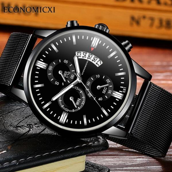Đồng hồ nam dây thep lụa đen ECONOMICXI chạy lịch ngày cao cấp (Full hộp) ECNI02 bán chạy