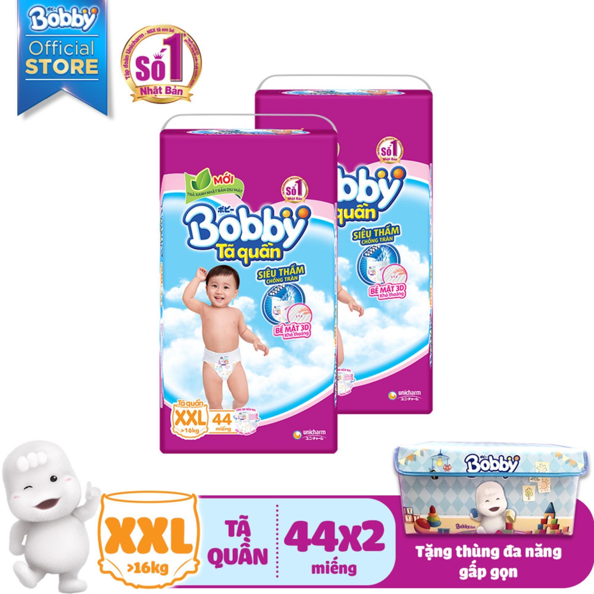 [Kèm Quà] Bộ 2 bỉm/tã quần Bobby (rãnh thấm kim cương) gói siêu lớn XXL 44 miếng (<16kg) kèm 1 Hộp đa năng