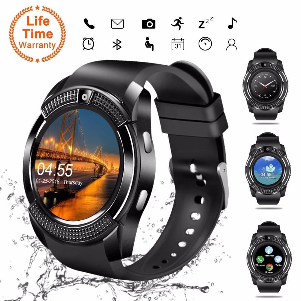 Đồng Hồ Thông Minh V8 Bluetooth Màn Hình Tròn 1.22 inch Hỗ Trợ Thẻ SIM có Camera Đồng Hồ Thông Minh Smartwatch cho Điện Thoại Thông Minh
