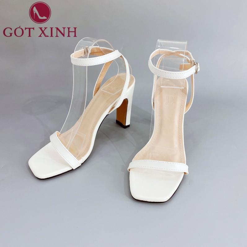 Sandal Cao Gót Gót Xinh GX254 7cm Da Mềm Gót Vuông Siêu Xinh giá rẻ