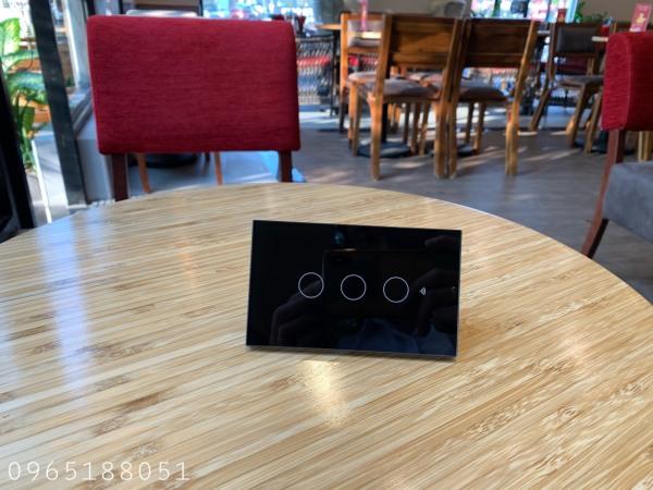 Công tắc thông minh Tuya 3 nút Đen  (wifi +rf 433) hổ trợ tiếng việt