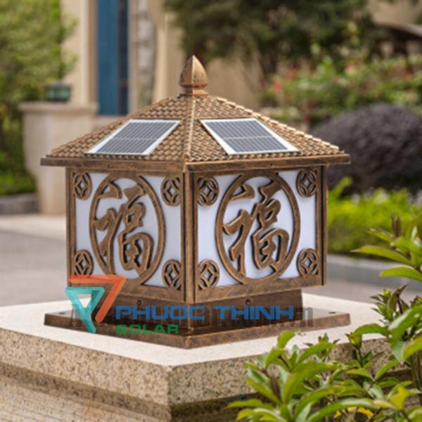 Đèn trụ cổng năng lượng mặt trời chữ Phúc trụ 25cm