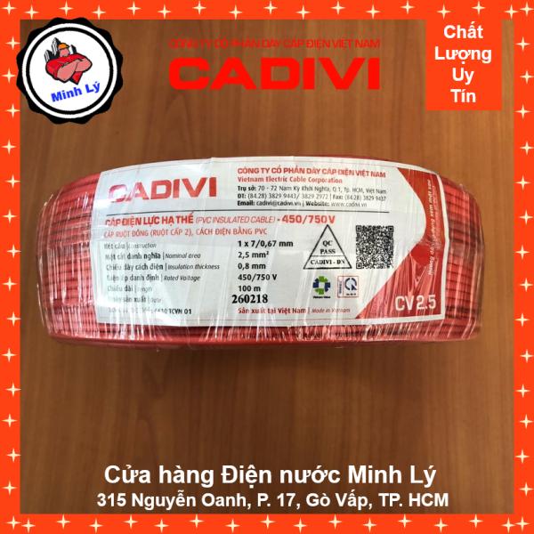 Dây Điện CADIVI CV 2.5 1X2.5 mm2 Đơn Mềm Cao Cấp (100m/cuộn)