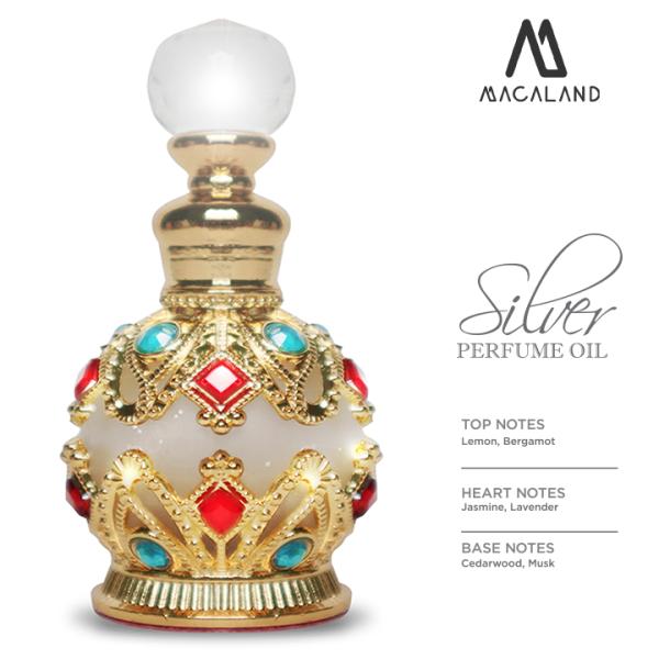 Nước hoa unisex Silver MACALAND đậm đặc 15ml mẫu chai Ai Cập dành cho nam và nữ ưa thích hương mát mẻ nhẹ nhàng cao cấp
