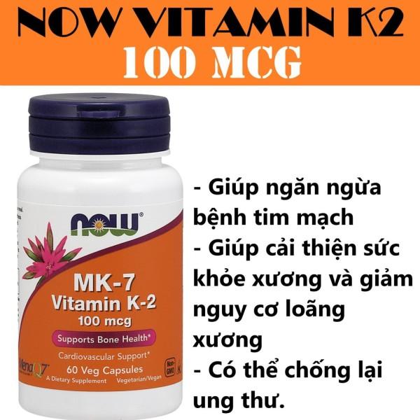 Thực Phẩm Bổ Sung NOW Vitamin K2 MK7 60 Viên