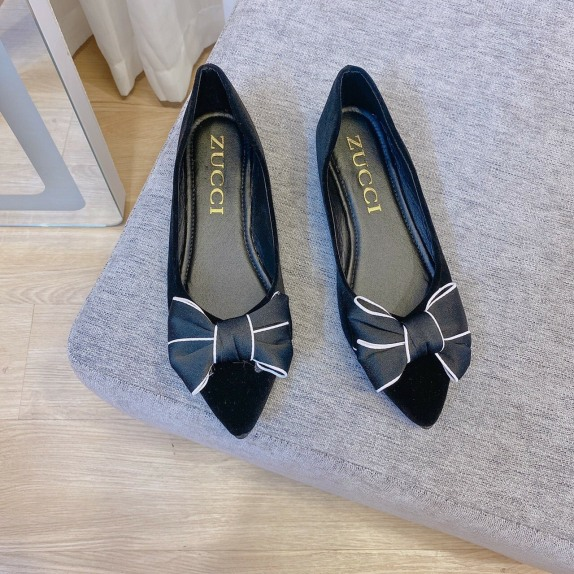 Giày bêt nữ búp bê phối nơ vải điệu đà êm chân giá rẻ