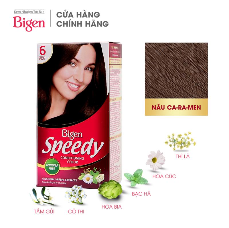 Thuốc nhuộm dưỡng tóc phủ bạc thảo dược Bigen Speedy Thương hiệu Nhật Bản 80ml dạng kem - Nâu Caramen 6 nhập khẩu