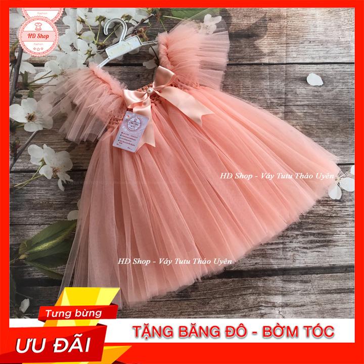Mã Tiết Kiệm Để Mua Sắm Đầm Cho Bé Gái / Đầm Cho Bé / Đầm Công Chúa Cho Bé Cánh Tiên Hồng Cam