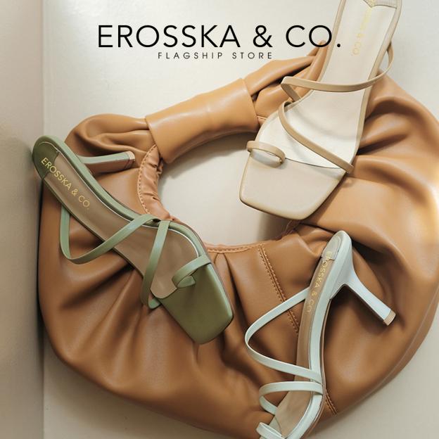 Dép cao gót thời trang Erosska kiểu dáng xỏ ngón đơn giản dễ phối đồ cao 7cm EM065 giá rẻ