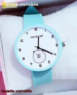 Đồng hồ dây cao su nữ Candycat hình gấu trắng cute, dây cao su mềm mại (xanh ngọc, hồng) robin thumbnail