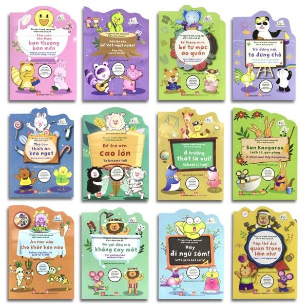 Mua Sách - Truyện Tranh Song Ngữ Việt - Anh Cho Bé - sách kỹ năng cho bé 3-8 tuổi (bộ 12 cuốn)