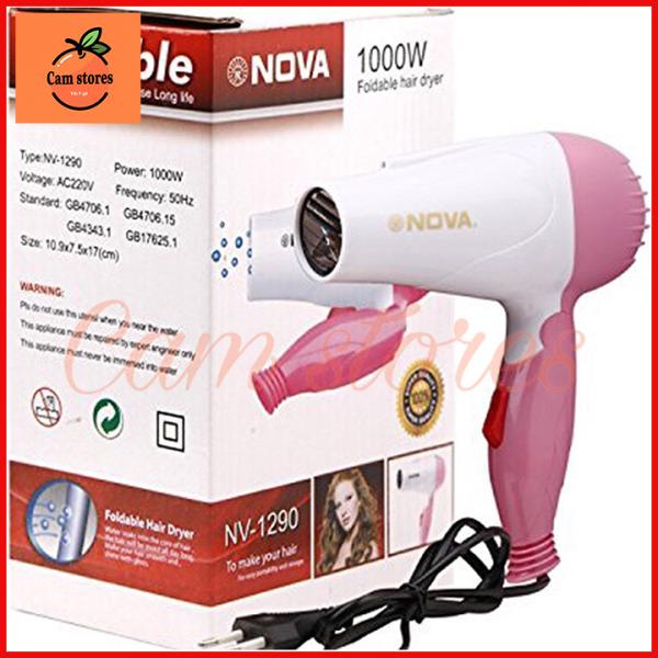 Máy sấy tóc Nova 1290 mini gấp gọn 1000W có 2 chế độ thích hợp để mang đi du lịch, máy sấy tóc mini công suất cực mạnh, máy sấy tóc du lịch, máy sấy tóc cao cấp, máy sấy tóc mini cực đẹp giá rẻ