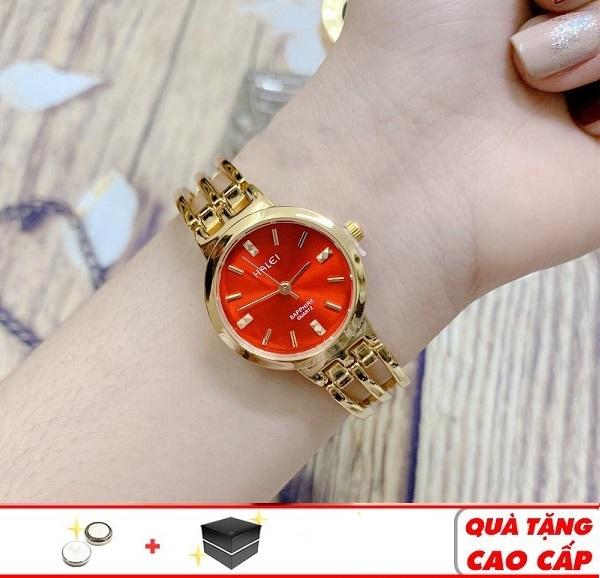 Đồng hồ nữ Halei máy Nhật mạ vàng dây kim loại tặng kèm hộp và pin dự phòng bán chạy