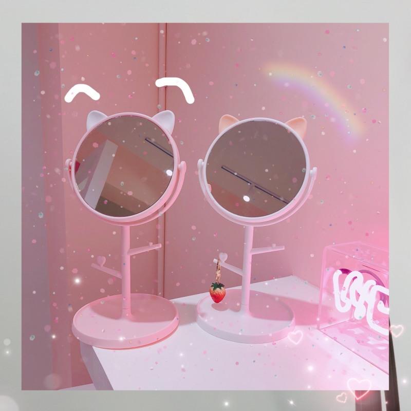 Gương để bàn tai mèo ,Gương trang điểm tai mèo ,Gương trang điểm cute cao cấp