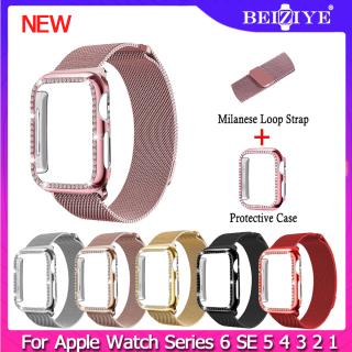 Milanese Watchband cho Apple Watch series 6 SE 5 4 3 2 1 Thép không gỉ Phụ nữ Nam giới Thay thế Vòng đeo tay Dây đeo + Vỏ cho apple watch 38mm 42mm 40mm 44mm thumbnail