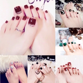Set 24 móng chân giả đính đá thời trang thanh lịch cho nữ [Tặng keo và dũa móng] thumbnail