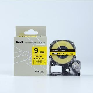 Tape nhãn in SC9YW (LC-3YBW) tương thích máy in nhãn KingJim SR & EPSON LW - Nhãn in chữ đen nền vàng 9mm thumbnail