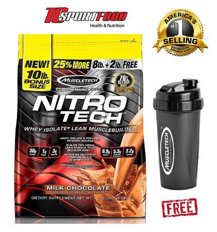 Thực phẩm bổ sung tăng cơ tăng sức mạnh Muscletech Nitro Tech 10lbs( 4.5kg) tặng kèm bình lắc lò xo TCSPORTFOOD