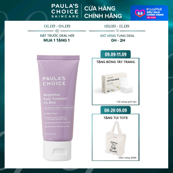 Kem dưỡng thể Paula's Choice RESIST WEIGHTLESS BODY TREATMENT WITH 2% BHA Trial size-5707