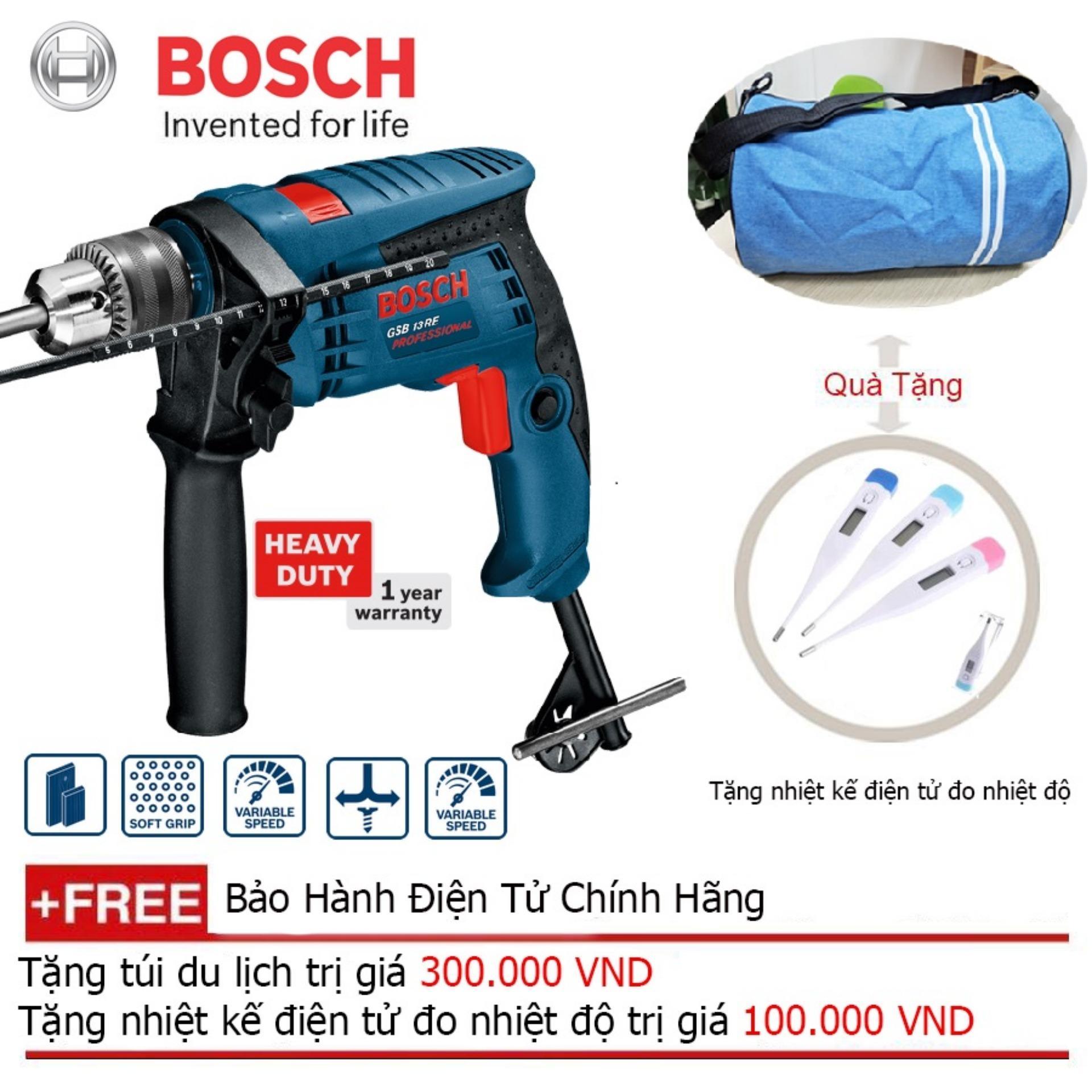 Máy khoan Bosch GBM 13 RE (Xanh đen) + Quà tặng balo du lịch