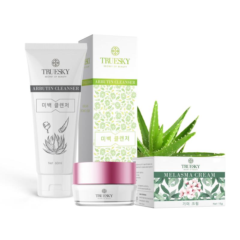 [Tặng mặt nạ cấp ẩm] Bộ sản phẩm làm mờ nám da mặt Truesky V01 gồm 1 kem nám da Melasma Cream 15g và một sữa rửa mặt nha đam Arbutin Cleanser 60ml